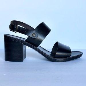 Seychelles Black Leather Slingback Platform Sandal